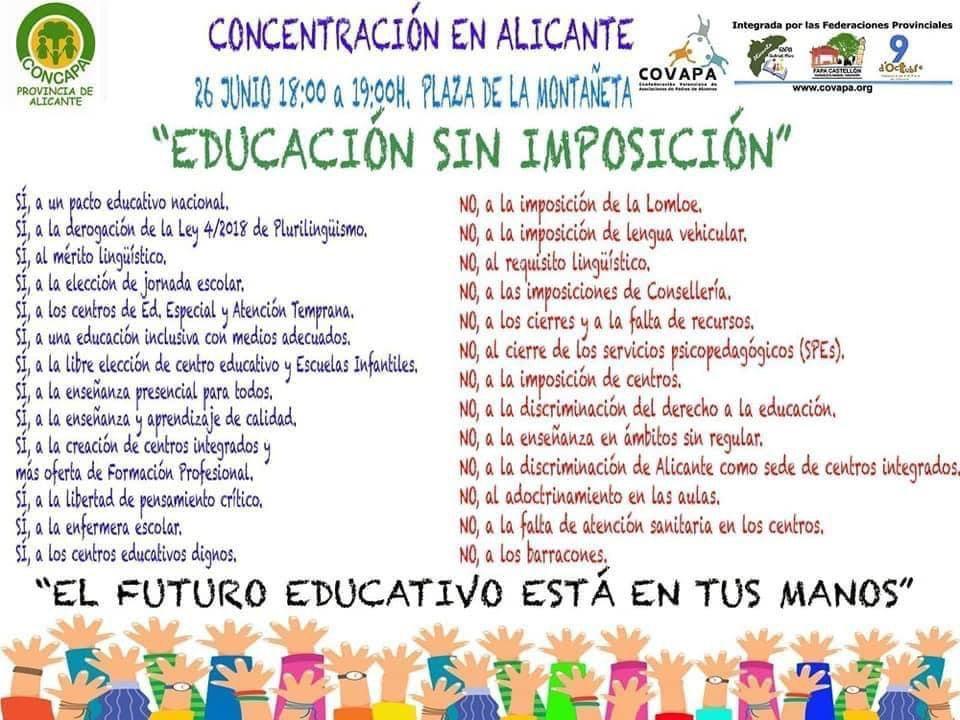 Sabado 26 junio. 18 horas.Concentración por la libertad educativa. Plaza Montañeta.